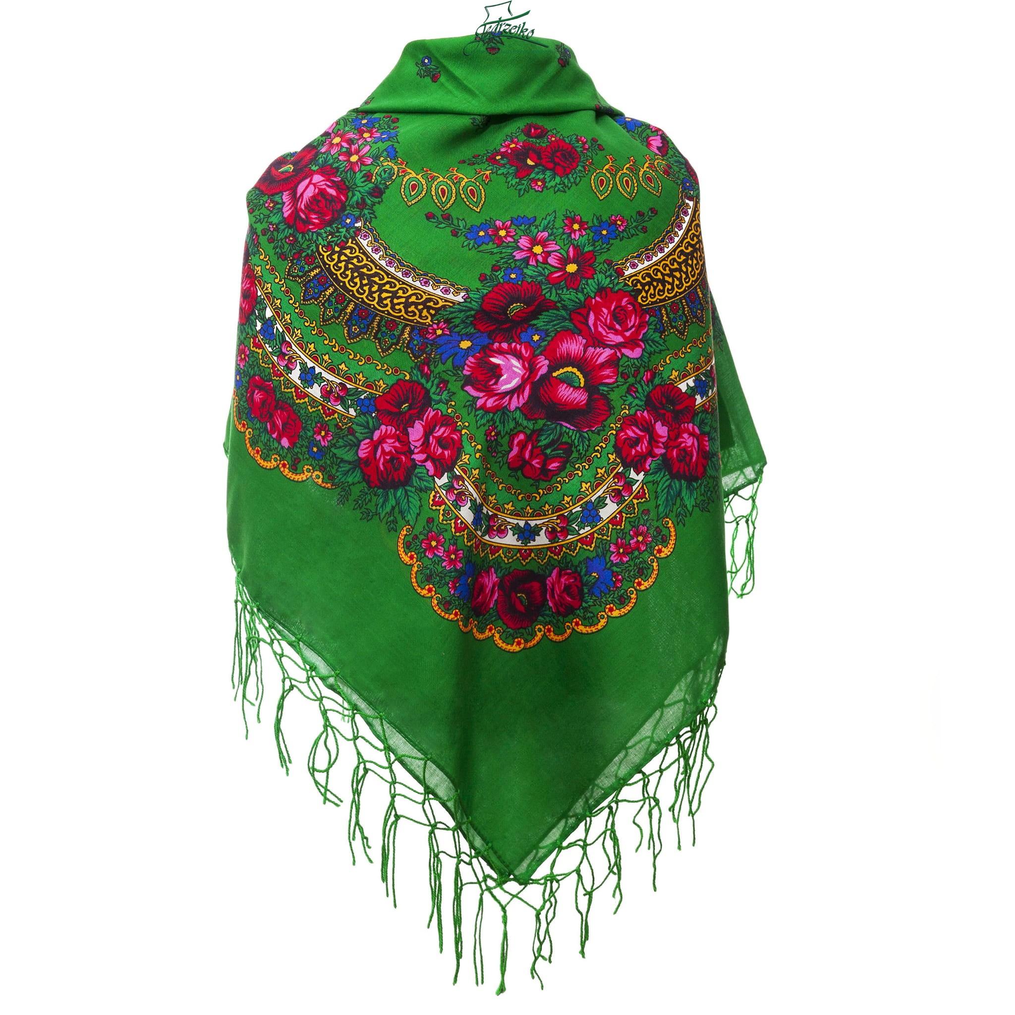 Polish Folk Scarf - Green Millinery Hat Supply & HandMade Folk ...