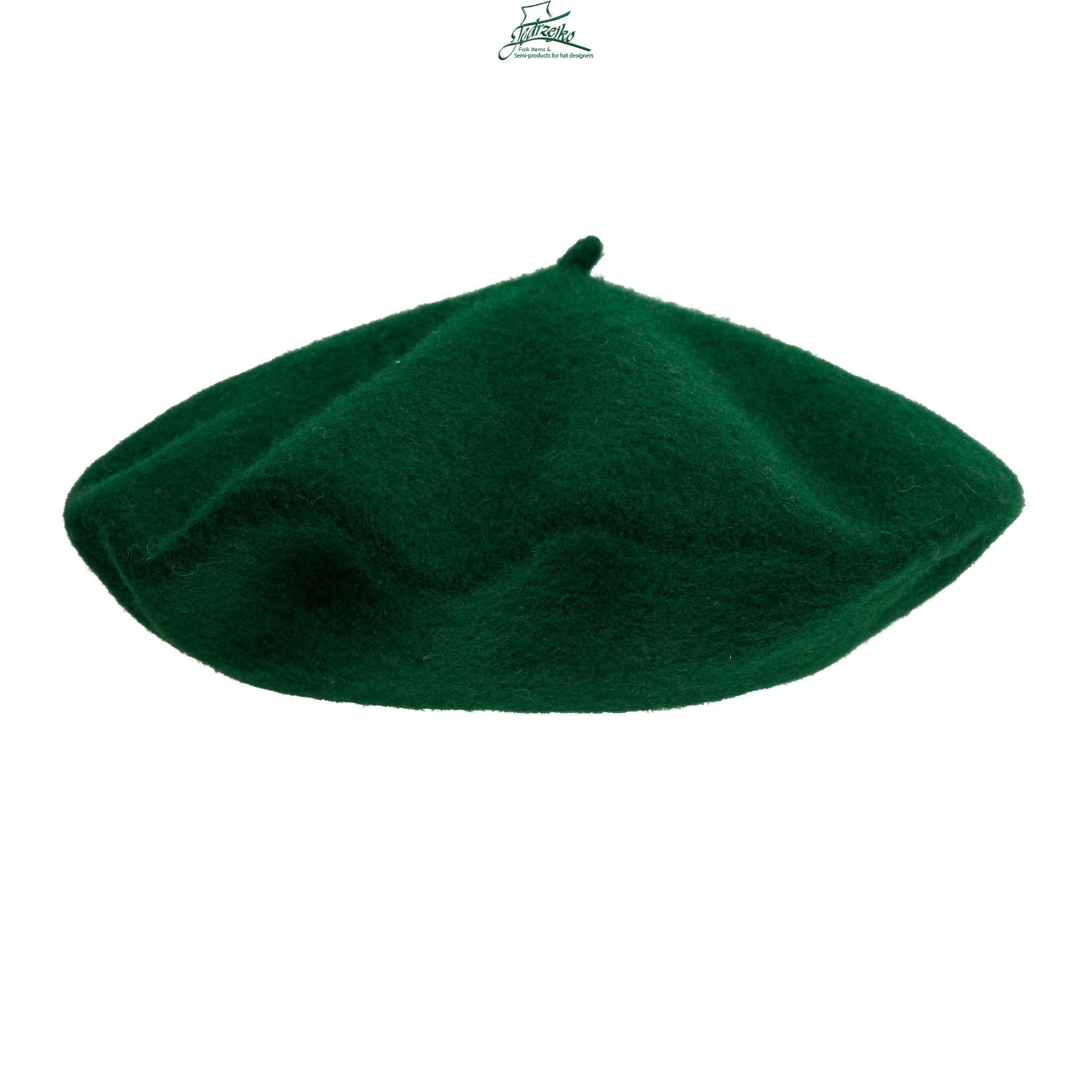 100% Wool beret with antenna - Bottle Green Millinery Hat Supply ... a6eed1c34e98