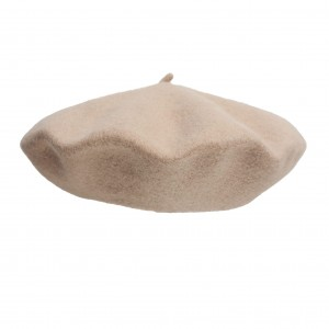 100% Wool beret with antenna -Light beige