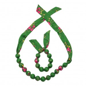 Set folk handame  bracelet and necklace - Green