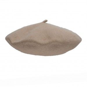 100% Wool beret with antenna - Dark beige