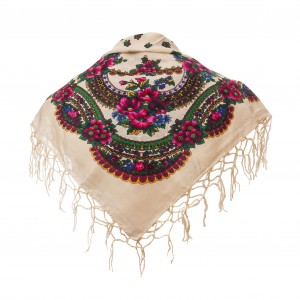 Polish Folk Scarf - Ecru