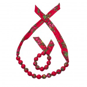 Set folk handame  bracelet and necklace - Red