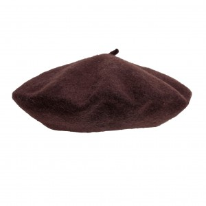 100% Wool beret with antenna - Brown