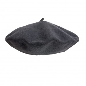 100% Wool beret with antenna - Steel