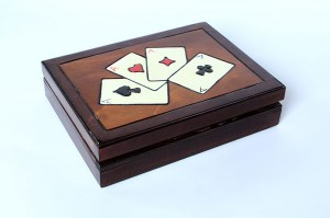 Wooden handmade playing card box - Dark