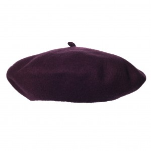 100% Wool beret with antenna - Burgundy