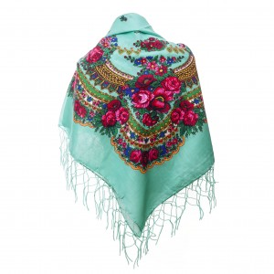Polish Folk Scarf - Mint