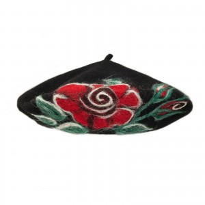 100% Wool Embroidered beret with antenna - Black + Red