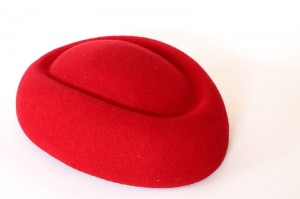 Pillbox boat fascinator - Ferrari red