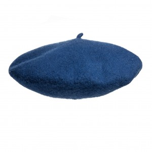 100% Wool beret with antenna - Navy blue