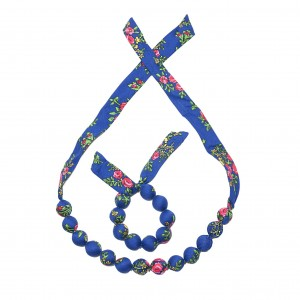 Set folk handame  bracelet and necklace - Blue