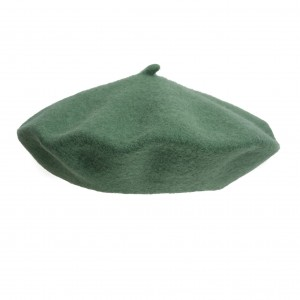 100% Wool beret with antenna - Green