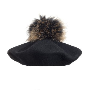 100% Wool beret with raccoon pompom - Black