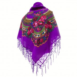 Polish Folk Scarf - Purple