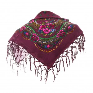 Polish Folk Scarf - Bordeaux