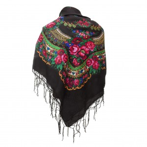 Polish Folk Scarf - Black