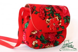 Folk shoulder bag - medium - Red