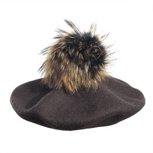 100% Wool beret with raccoon pompom - Brown
