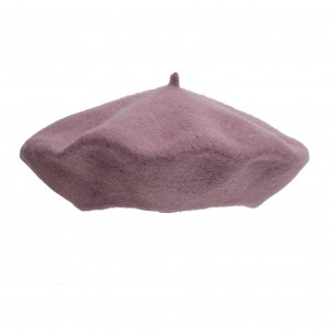 100% Wool beret with antenna - Dirty pink