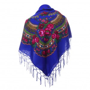 Polish Folk Scarf - Royal blue