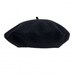 100% Wool beret with antenna - Black
