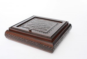 Wooden handmade box with mirror