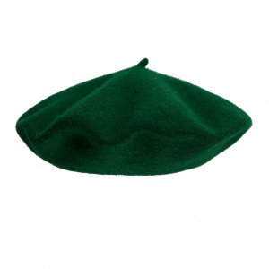 100% Wool beret with antenna - Bottle Green